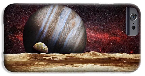 Galilean Moon iPhone Cases - Jupiter Rising iPhone Case by Bill  Wakeley