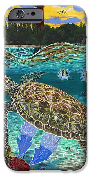 Manatee iPhone Cases - Jupiter Turtle iPhone Case by Carey Chen