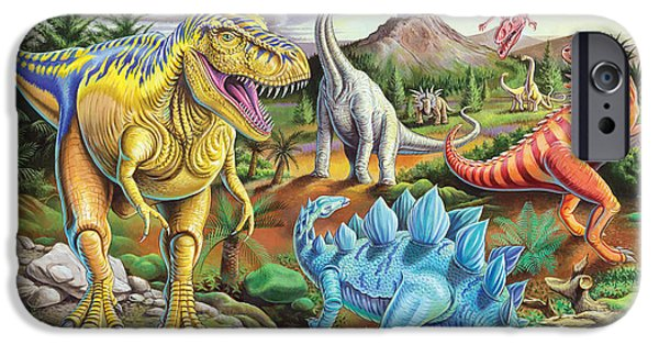 Dinosaur iPhone Cases - Jurassic Jubilee iPhone Case by Mark Gregory