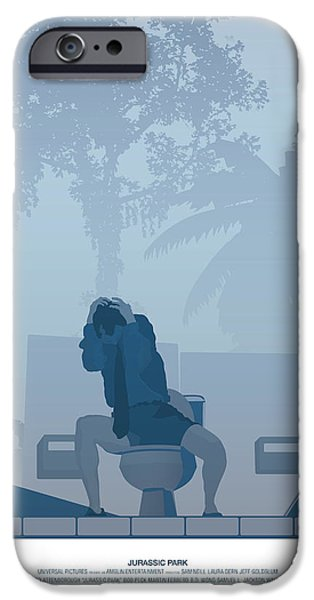Dinosaur iPhone Cases - Jurassic Park poster - Feat. Gennaro iPhone Case by Peter Cassidy
