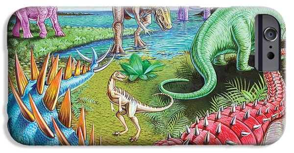 Dinosaur iPhone Cases - Jurassic Swamp Variant 1 iPhone Case by Mark Gregory