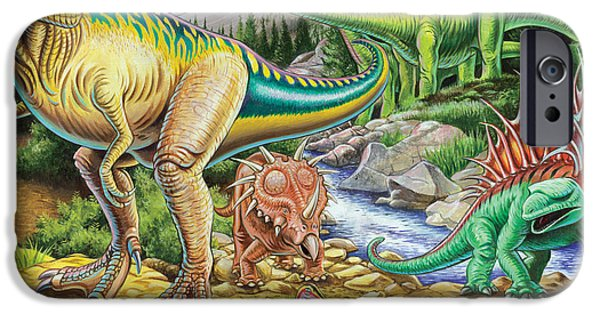 Dinosaur iPhone Cases - Jurassic Valley iPhone Case by Mark Gregory