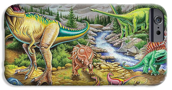 Dinosaur iPhone Cases - Jurassic Valley Sqaure iPhone Case by Mark Gregory