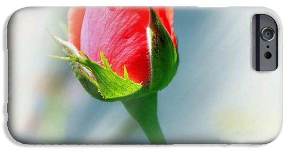 Floral Digital Art Digital Art iPhone Cases - Just A Bud iPhone Case by Judy Palkimas