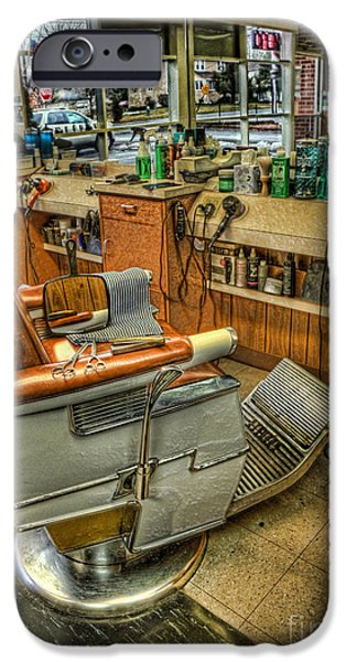 Barberchairs iPhone Cases - Just a Little off the Top - Barber Shop iPhone Case by Lee Dos Santos