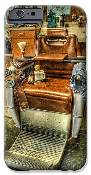 Barberchairs iPhone Cases - Just a Little off the Top II - Barber Shop iPhone Case by Lee Dos Santos