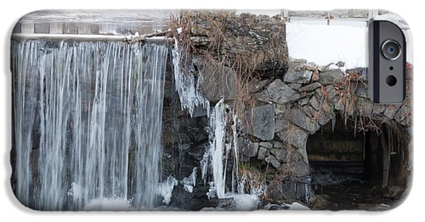 Winter In Maine iPhone Cases - Just a little snow and ice in November. iPhone Case by Stroudwater Falls Photography