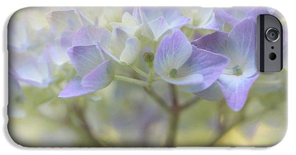 Purple Hydrangeas iPhone Cases - Just a Whisper Hydrangea Flower iPhone Case by Jennie Marie Schell
