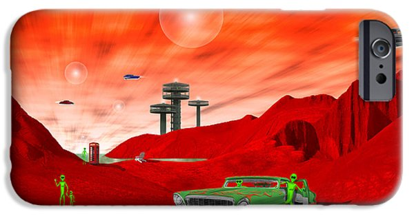 Ufo iPhone Cases - Just Another Day on the Red Planet 2 iPhone Case by Mike McGlothlen