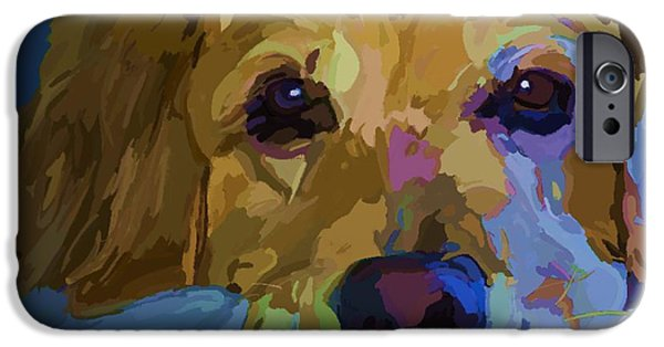 Golden Puppy iPhone Cases - Just another Golden day iPhone Case by Patti Siehien