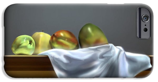 Mango Paintings iPhone Cases - Just Apples and Mangos  iPhone Case by Reggie Duffie