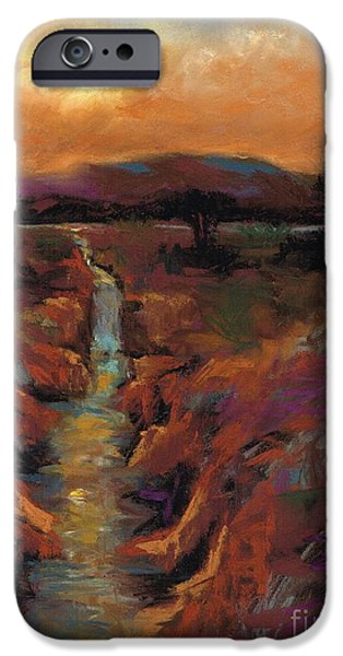 Creek Pastels iPhone Cases - Just Before Sunset iPhone Case by Frances Marino