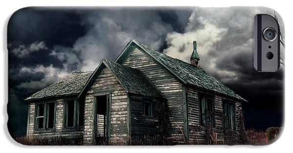 Haunted House Digital Art iPhone Cases - Just before the Storm iPhone Case by Aimelle