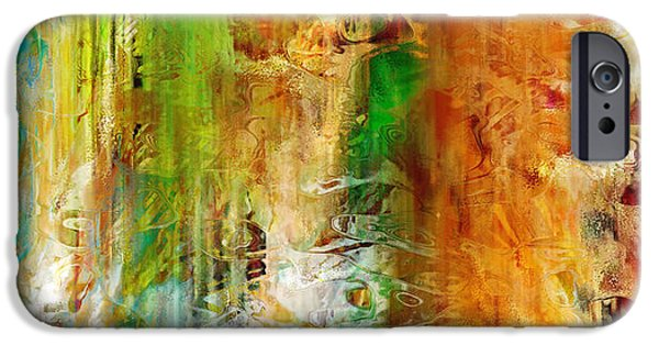 Abstract On Canvas Paintings iPhone Cases - Just Being - Abstract Art iPhone Case by Jaison Cianelli