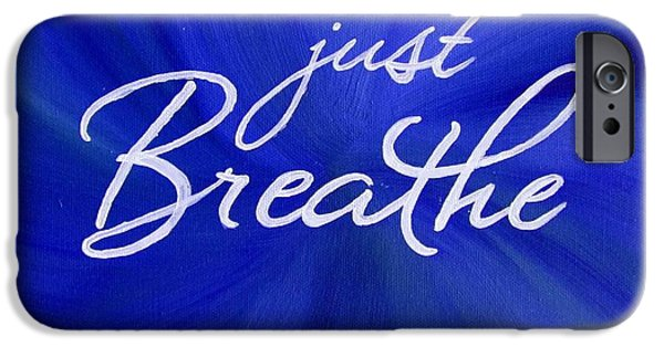 Breathing Paintings iPhone Cases - Just Breathe - Blue iPhone Case by Michelle Eshleman