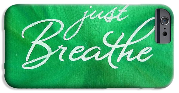 Business Paintings iPhone Cases - Just Breathe - Green iPhone Case by Michelle Eshleman