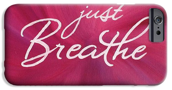 Business Paintings iPhone Cases - Just Breathe - Pink iPhone Case by Michelle Eshleman