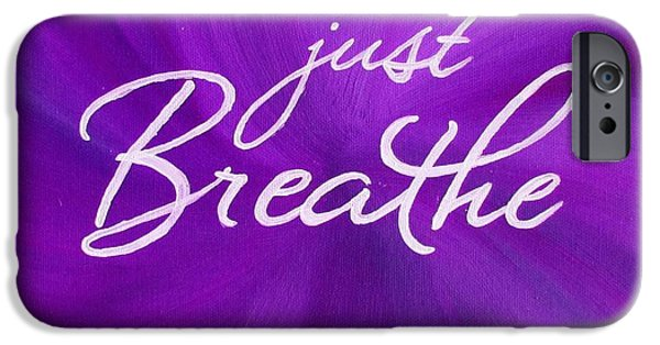 Business Paintings iPhone Cases - Just Breathe - Purple iPhone Case by Michelle Eshleman