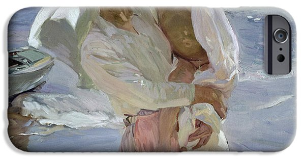 Boat iPhone Cases - Just Out of the Sea iPhone Case by Joaquin Sorolla y Bastida