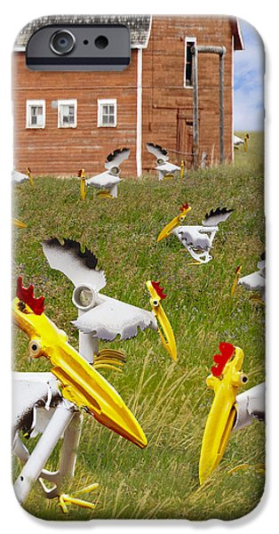 Birds Sculptures iPhone Cases - Just Pecking Around iPhone Case by Ric Pollock