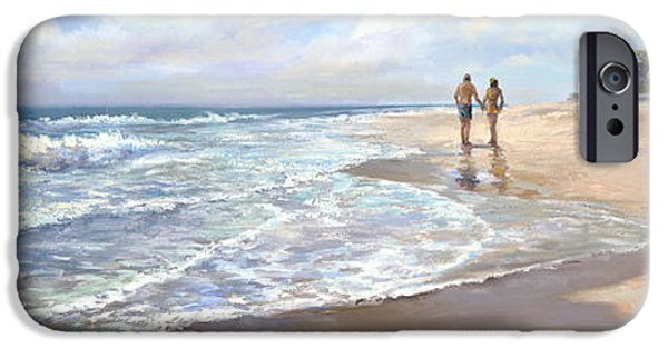 Beach Landscape Paintings iPhone Cases - Just We Two iPhone Case by Laurie Hein