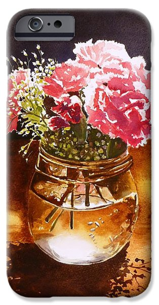 Water Jars Paintings iPhone Cases - Just What the Table Needed iPhone Case by Renata Wright