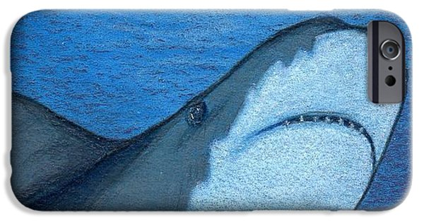 Shark Drawings iPhone Cases - Just When You Thought It Was Safe to Get In... iPhone Case by Sherry Goeben
