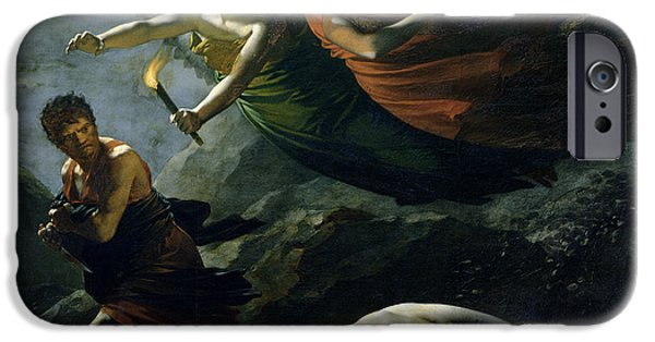 Justices iPhone Cases - Justice and Divine Vengeance pursuing Crime iPhone Case by Pierre-Paul Prud