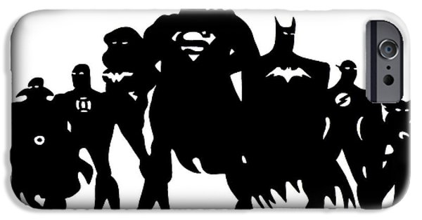 Justice League iPhone Cases - Justice League in Silhouette iPhone Case by Ian  King