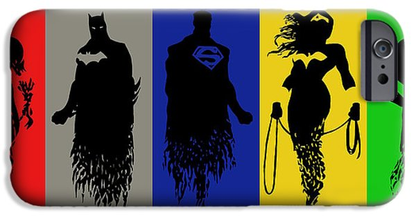 Justice League iPhone Cases - Justice League Silhouettes iPhone Case by Ian  King