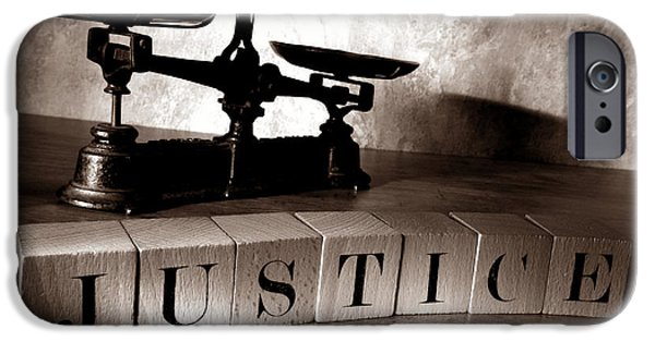 Spell iPhone Cases - Justice iPhone Case by Olivier Le Queinec