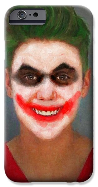 Police Paintings iPhone Cases - Justin Bieber Joker iPhone Case by Antony McAulay