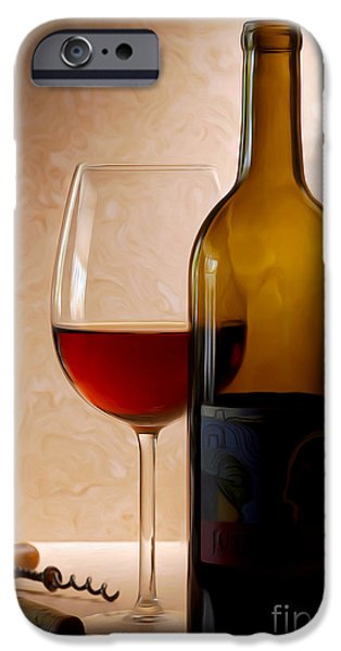 Red Wine iPhone Cases - Justin Wine Painting iPhone Case by Jon Neidert