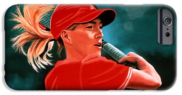 French Open Paintings iPhone Cases - Justine Henin  iPhone Case by Paul Meijering