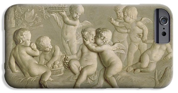Cupid iPhone Cases - Juvenile Bacchanalia, 1783 Oil On Canvas iPhone Case by Grigoriy Ivanovich Ugryumov