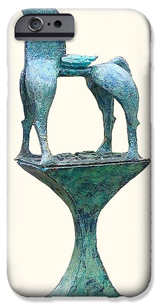 Youthful Sculptures iPhone Cases - Juvenile flying Horse iPhone Case by Al Goldfarb