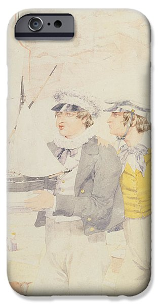 Model iPhone Cases - Juvenile Members Of The Yacht Club, 1853 Wc & Graphite On Paper iPhone Case by Richard Dadd