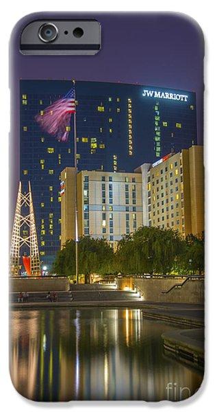 Indiana Scenes iPhone Cases - JW Marriott Night iPhone Case by David Haskett