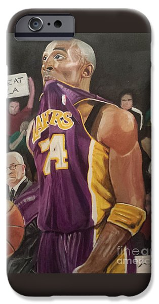 Kobe Paintings iPhone Cases - One Last Shot iPhone Case by Jason Majiq Holmes