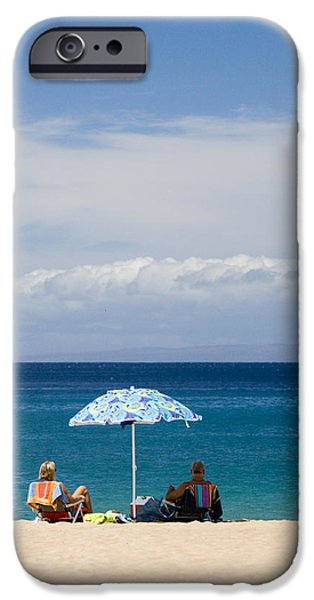 Two Waves iPhone Cases - Kaanapali Beach in Maui iPhone Case by David Smith