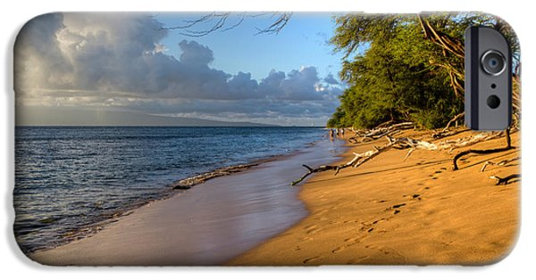Sea iPhone Cases - Kaanapali Beach Stroll iPhone Case by Heidi Smith