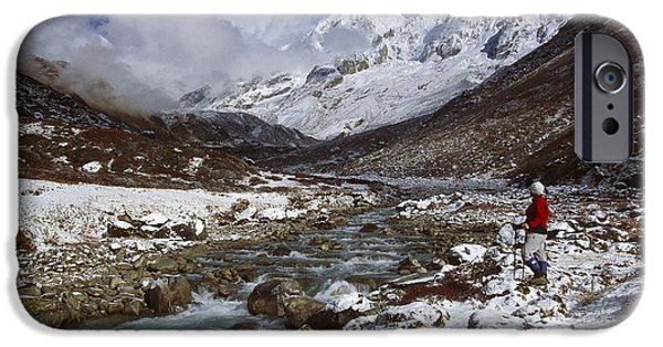 Winter Storm iPhone Cases - Kabru Peak Winter Himalaya India iPhone Case by Colin Monteath