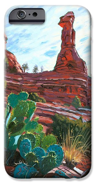 Sedona Paintings iPhone Cases - Kachina Woman iPhone Case by Steve Simon