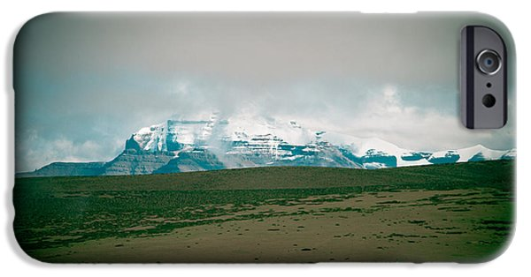 Tibetan Buddhism iPhone Cases - Kailas mountain Home of the Lord Shiva view from Manasarovar iPhone Case by Raimond Klavins