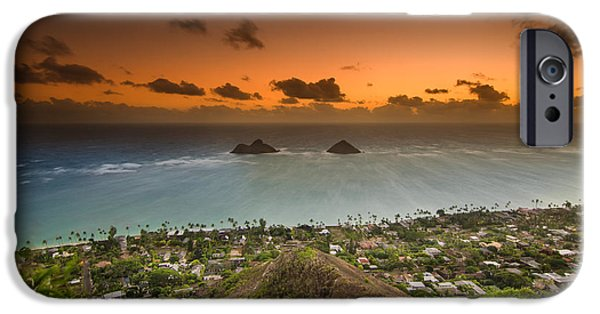 Wind Surfing Art iPhone Cases - Kailua Bay Sunrise iPhone Case by Tin Lung Chao