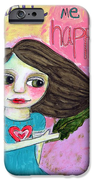 Healthy Mixed Media iPhone Cases - Kale makes me happy iPhone Case by AnaLisa Rutstein