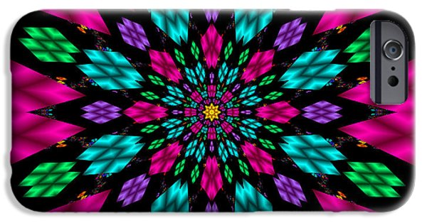 Kaleidoscopic Paintings iPhone Cases - Kaleidoscopic Fractal Art iPhone Case by Bruce Nutting