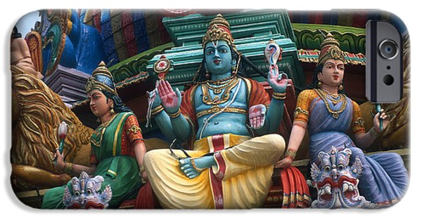 Hindu Goddess iPhone Cases - Kali on Hindu Temple iPhone Case by Carl Purcell