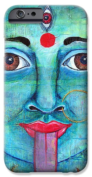 Hindu Goddess Mixed Media iPhone Cases - Kali iPhone Case by Shelley Bredeson