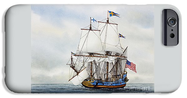 Tall Ship Paintings iPhone Cases - Kalmar Nyckel iPhone Case by James Williamson